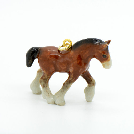 Porcelain Clydesdale Horse Pendant Hand Painted Hand Made Etsy Clydesdale Horses Horses Horses Pendant