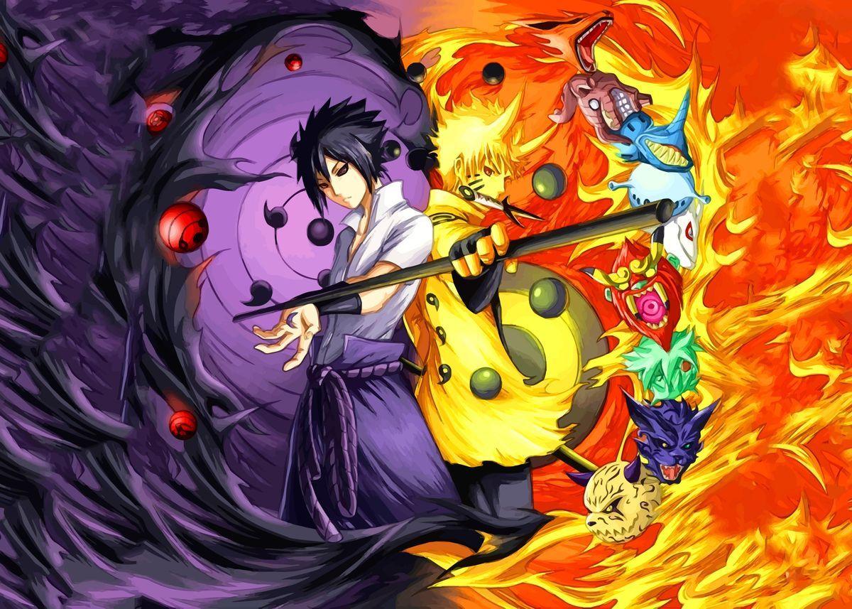 Naruto Vs Sasuke Poster By Nice Pictures Displate In 2021 Naruto And Sasuke Wallpaper Anime Naruto Vs Sasuke