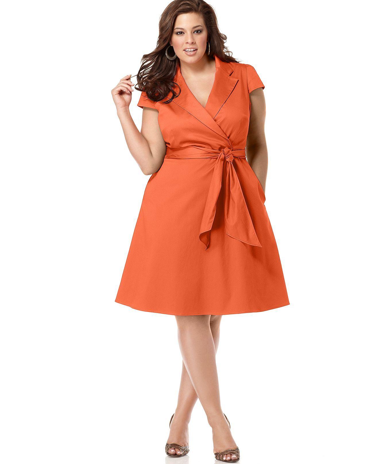 Spense Plus Size Dress, Short Sleeve Wrap Shirtdress - Plus ...