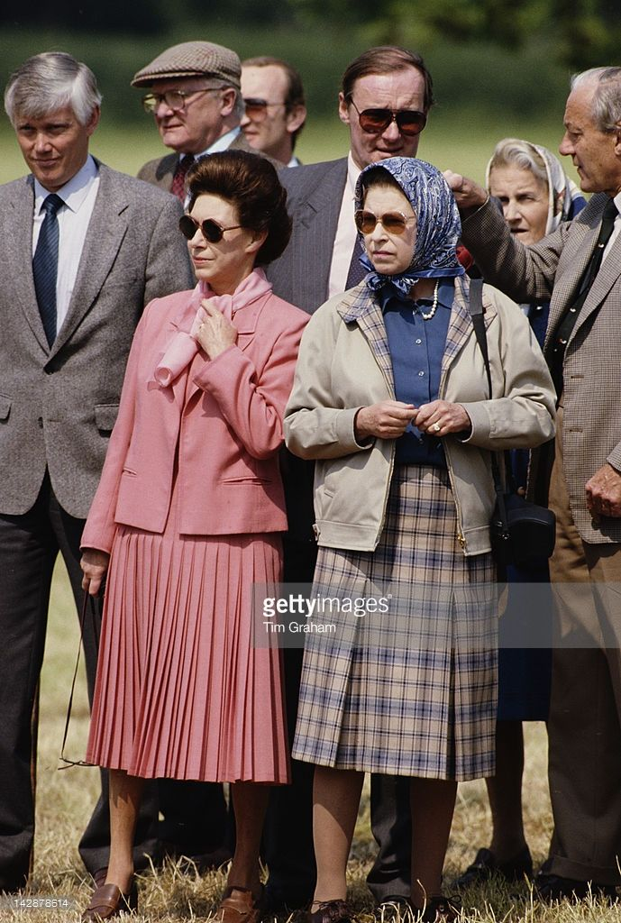 Queen Elizabeth II and Princess Margaret, UK, May 1988.