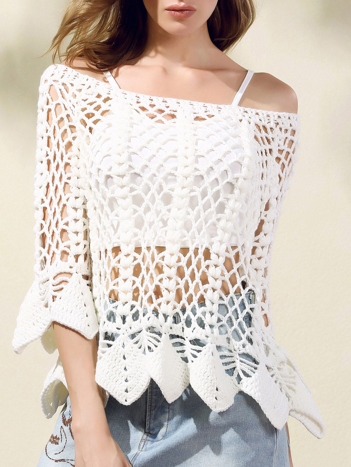 Stylish White Lace Crochet Round Neck Butterfly Sleeve Solid Color ...