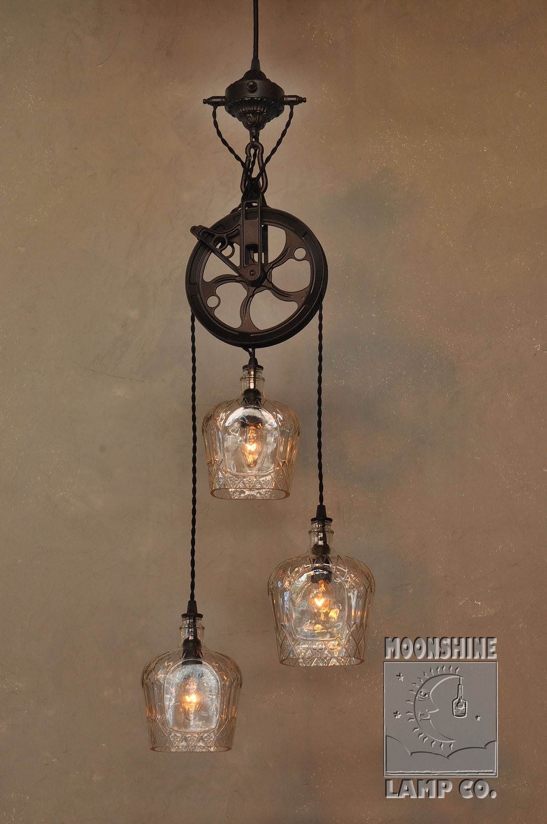 Were pleased with this brand new 3 light version of our popular were pleased with this brand new version of our popular warehouser dual pendant chandelier made from recycled bottles this fixture was commissioned by a arubaitofo Choice Image