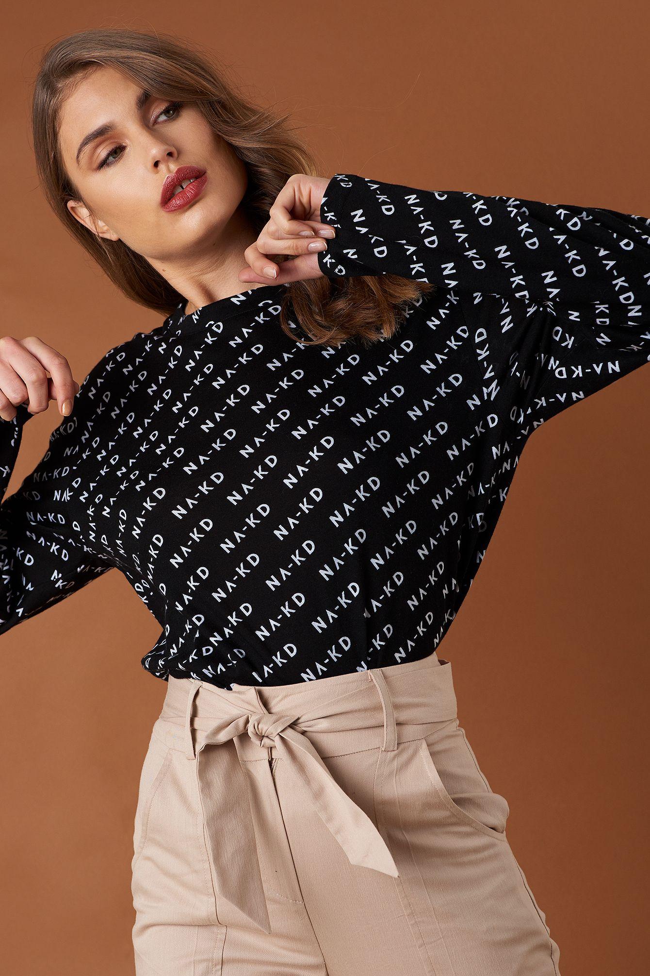 38e4af1c399 Branded Long Sleeve Top Black