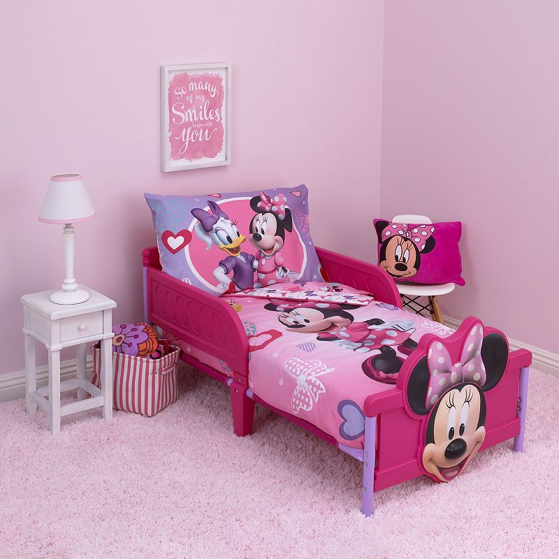 Best Disney Minnie Mouse Hearts And Bows 4 Pc Toddler Bedding 400 x 300