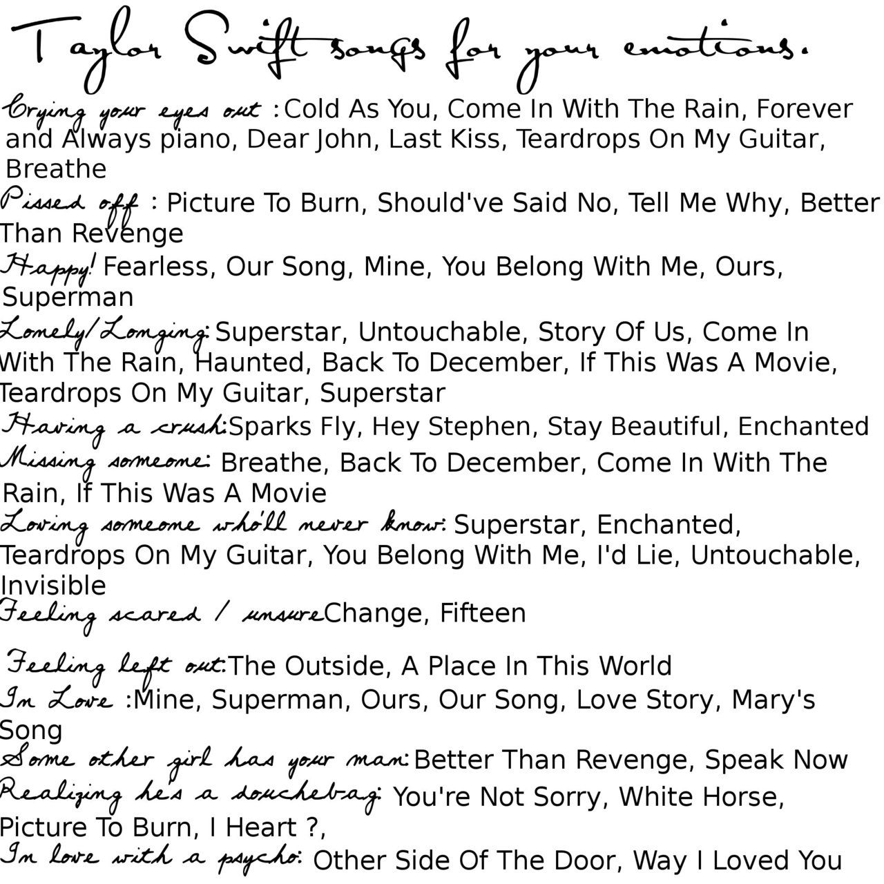 Taylor swift songs to listen to