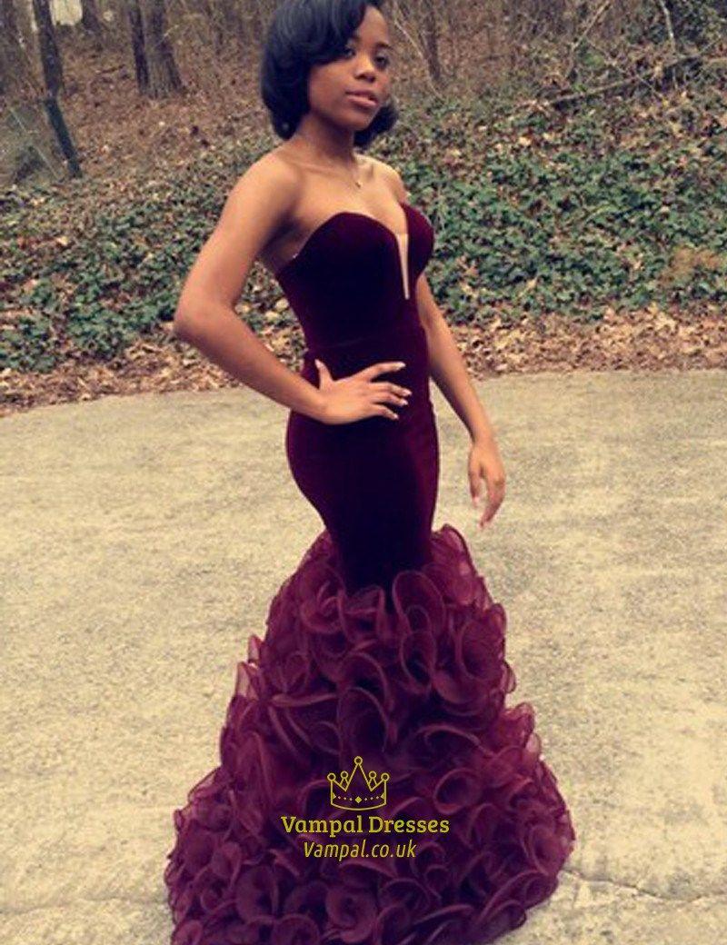 08bc573403 vampal.co.uk Offers High Quality Burgundy Strapless Sweetheart Sleeveless Mermaid  Prom Dress