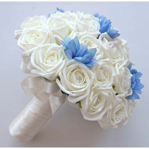 Ivory Rose and Blue Agapanthus Bridal Wedding Bouquet ($84) ❤ liked on Polyvore