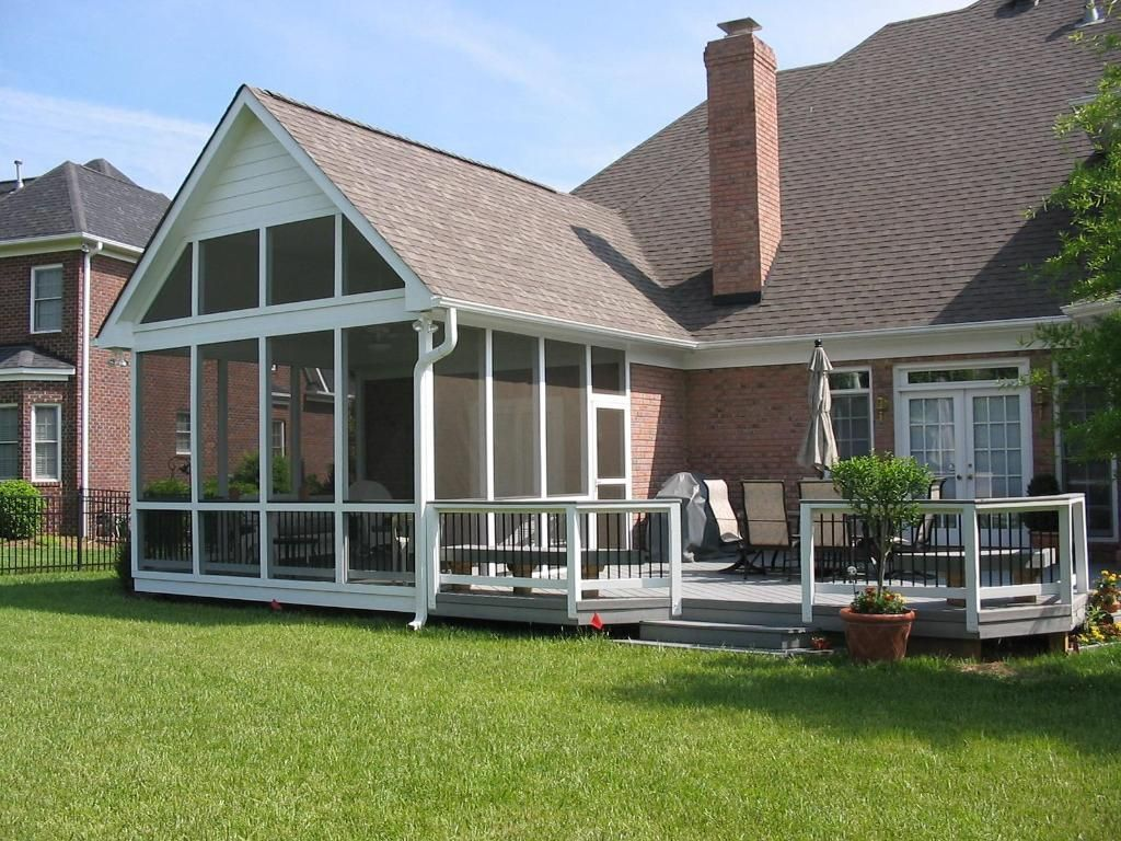 Pictures Of Decks With Screened Porches | Large Screen Porch With Gray Deck    Screened Porches