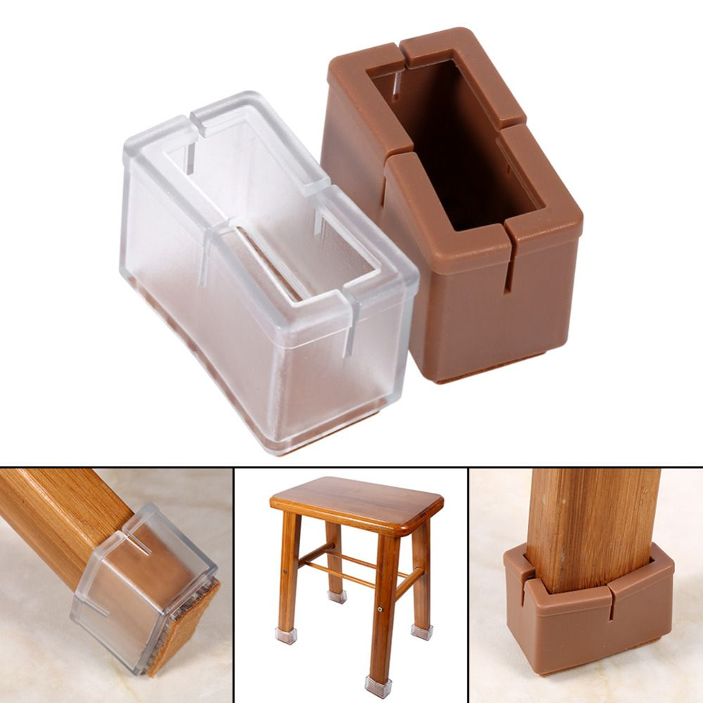 8 Pcs/Set Chair Legs Cover Rectangle Furniture Legs Protector With Rubber  Sole Pad Furniture Table Covers