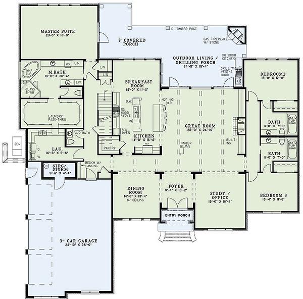 European Style House Plan 4 Beds 4 Baths 3766 Sq Ft Plan 17 2477