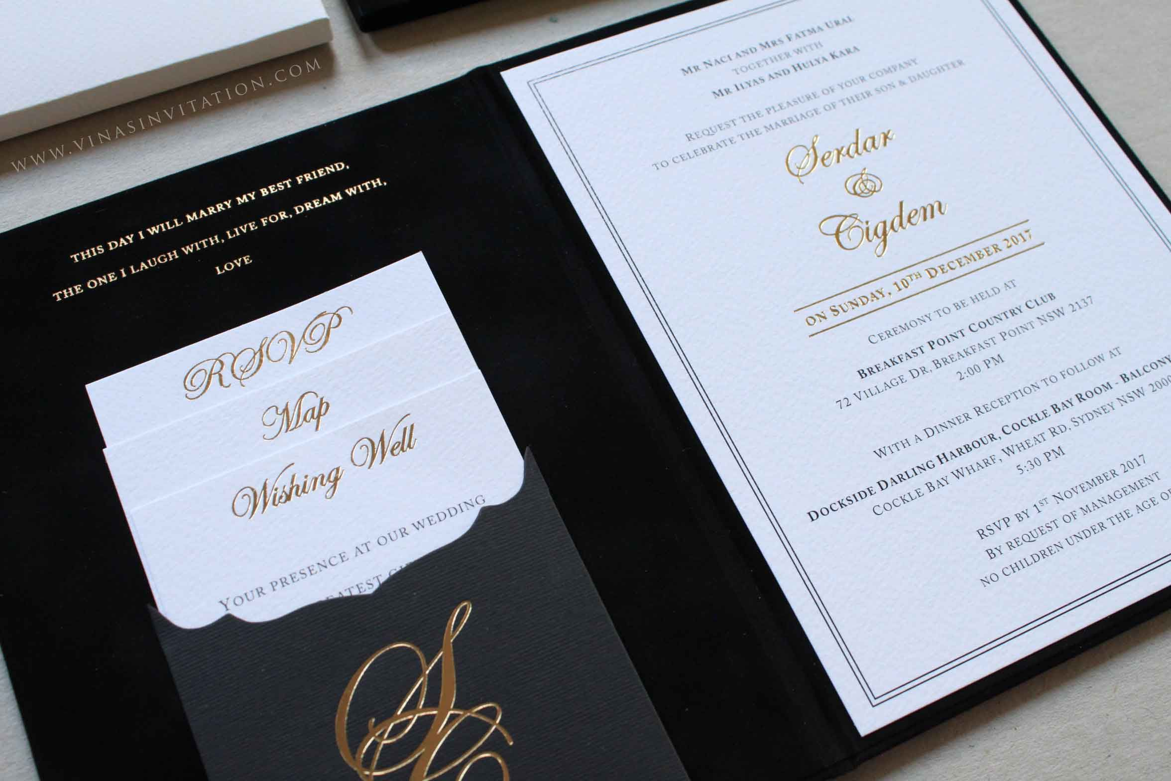 vinas invitation. black and gold invitation. australian wedding ...