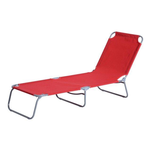 Bain de soleil transat pliable dossier réglable multipositions métal et polyester rouge outsunny rouge