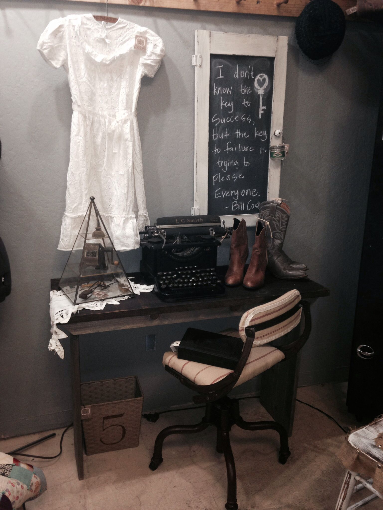 Snap shot from my booth. Industrial meets rustic.