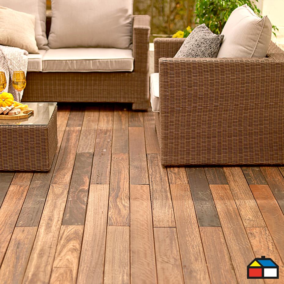 Piso madera madera natural y terraza jardin for Sodimac terrazas chile