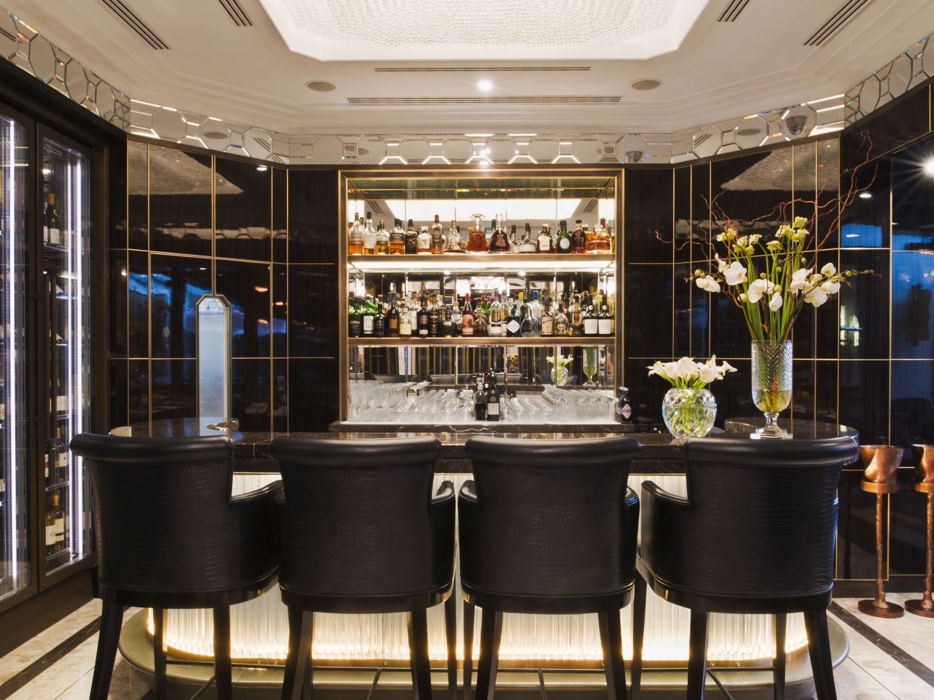 Crsytal bar at the wellesley hotel in london theatre design
