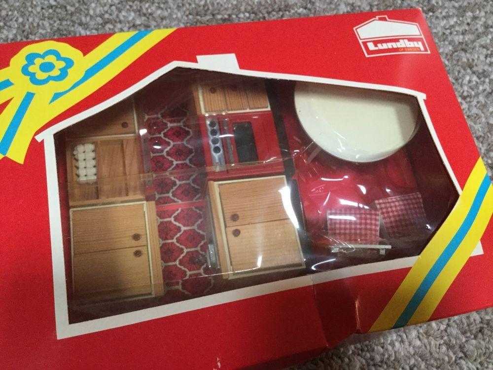 Good Vintage 9279 Lundby Of Sweden Dollhouse Kitchen Furniture Original Box
