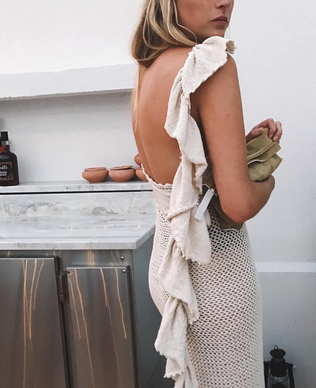 Camille charriere wears magda butrum cream lanus dress available on