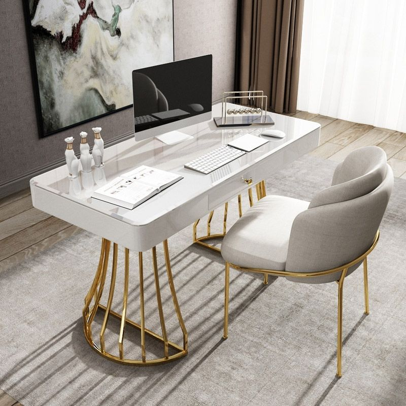 White Black Office Desk 47 In 2020 White Desk Office Black Desk Office Desk In Living Room