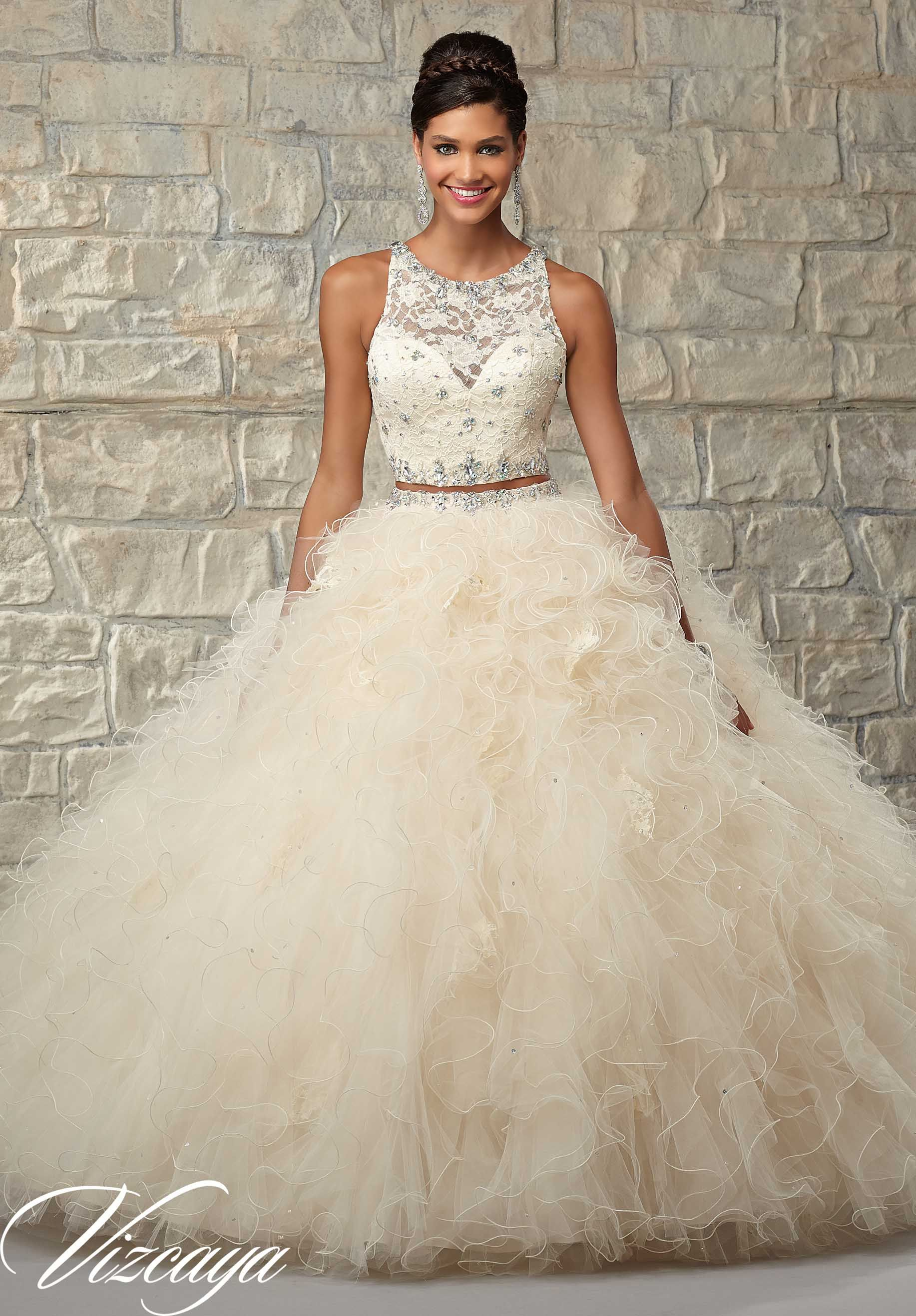 5bcc33cffca 89026 Quinceanera Gowns Two-Piece Ruffled Tulle Skirt with Lace .