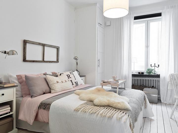 nordic rustic bedroom  white  pink and grey  ikea via Stylizimo   Design  Voice. nordic rustic bedroom  white  pink and grey  ikea via Stylizimo