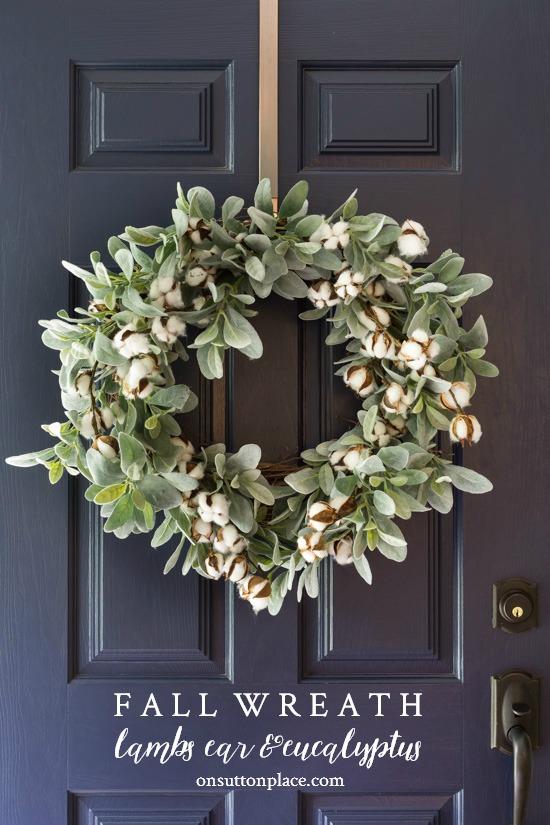 Fall Wreath Idea: Lamb's Ear & Cotton Bolls | On Sutton Place