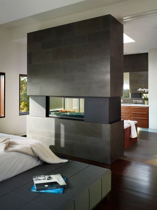 Gorgeous See Through Fireplace Designs As Unusual Room Divider