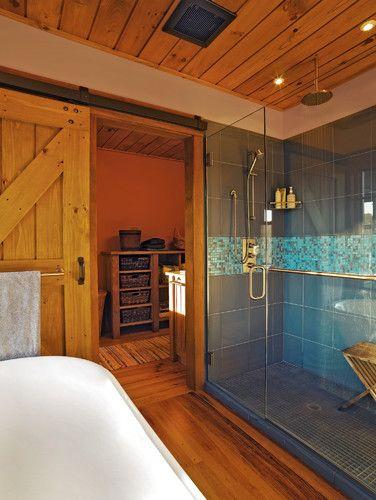 Goose Farm Barn House Traditional Bathroom With Blue Tiled Shower