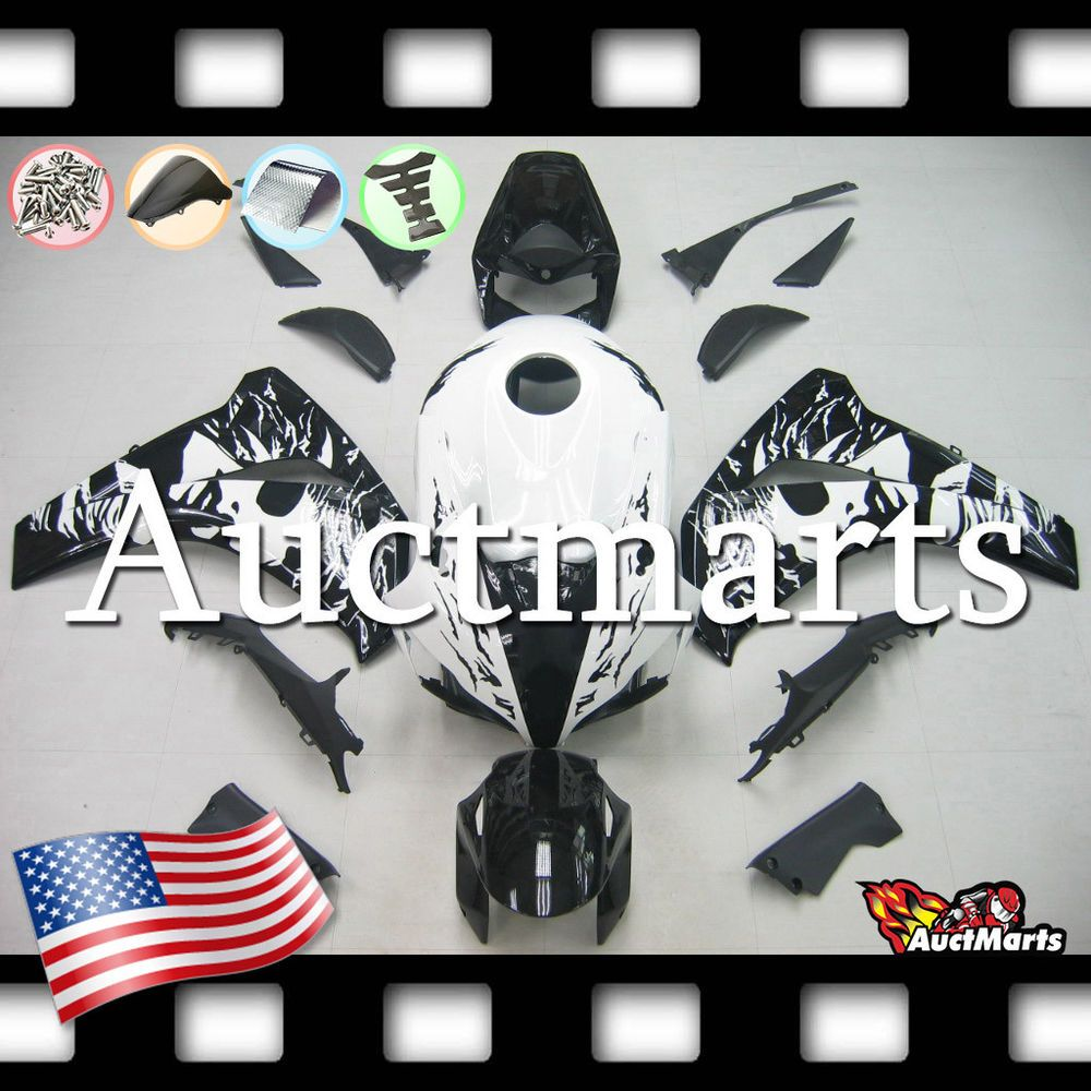 Fit for CBR1000RR 2008-2011 White Black ABS Injection Mold Bodywork Fairing Kit