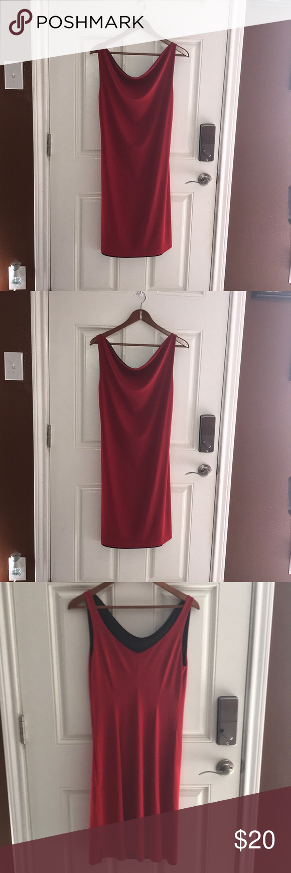 Reversible dress red black dress and red black
