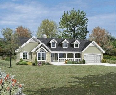Country ranch with dramatic atrium views hwbdo76140 for Builderhouseplans com