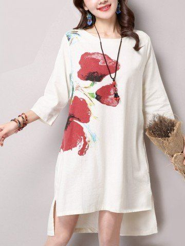 Vintage Women Ink Printed 3/4 Sleeve High Low Side Split Loose Cotton Linen Dress