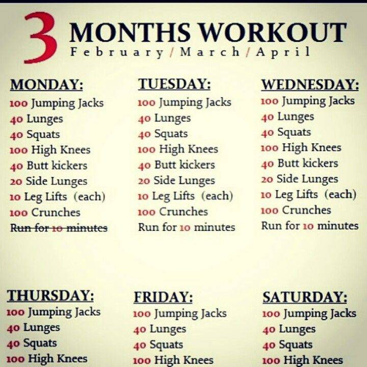 Daily Exercise Schedule Miscellaneous Pinterest Exercise - workout sheet