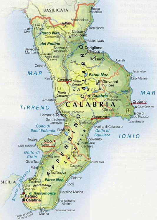 Cartina Calabria E Puglia.Cartina Dettagliata Della Calabria My Wife Was Born Here