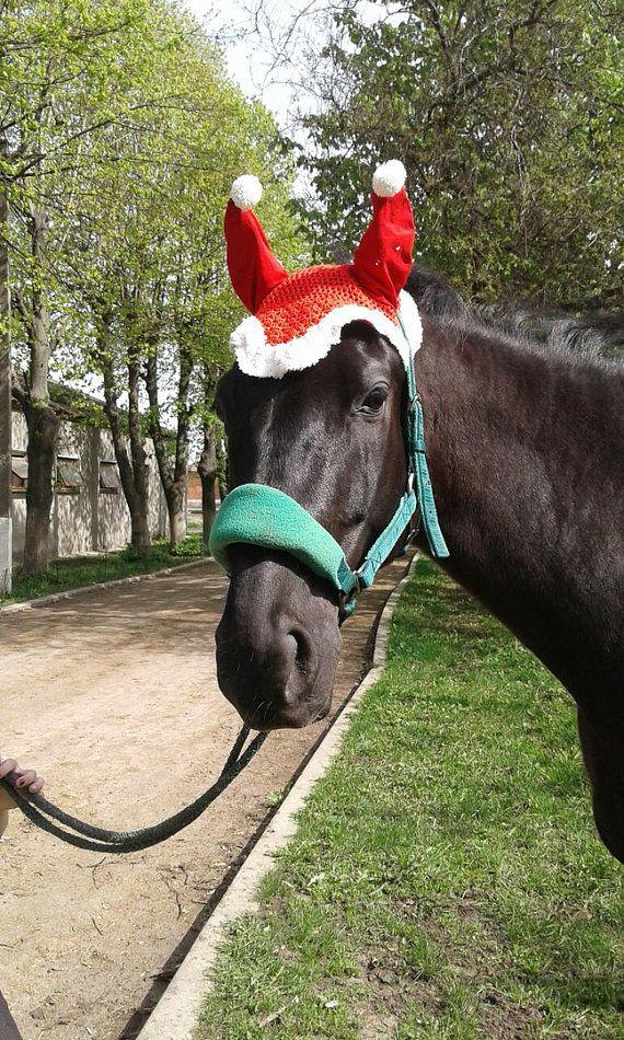Christmas Horse Ear Bonnet Santa Hat For от Horsemania