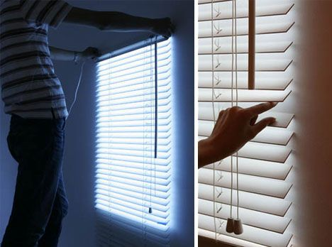 fake blinds with led lights that increase in intensity when you turn the wand for people with. Black Bedroom Furniture Sets. Home Design Ideas