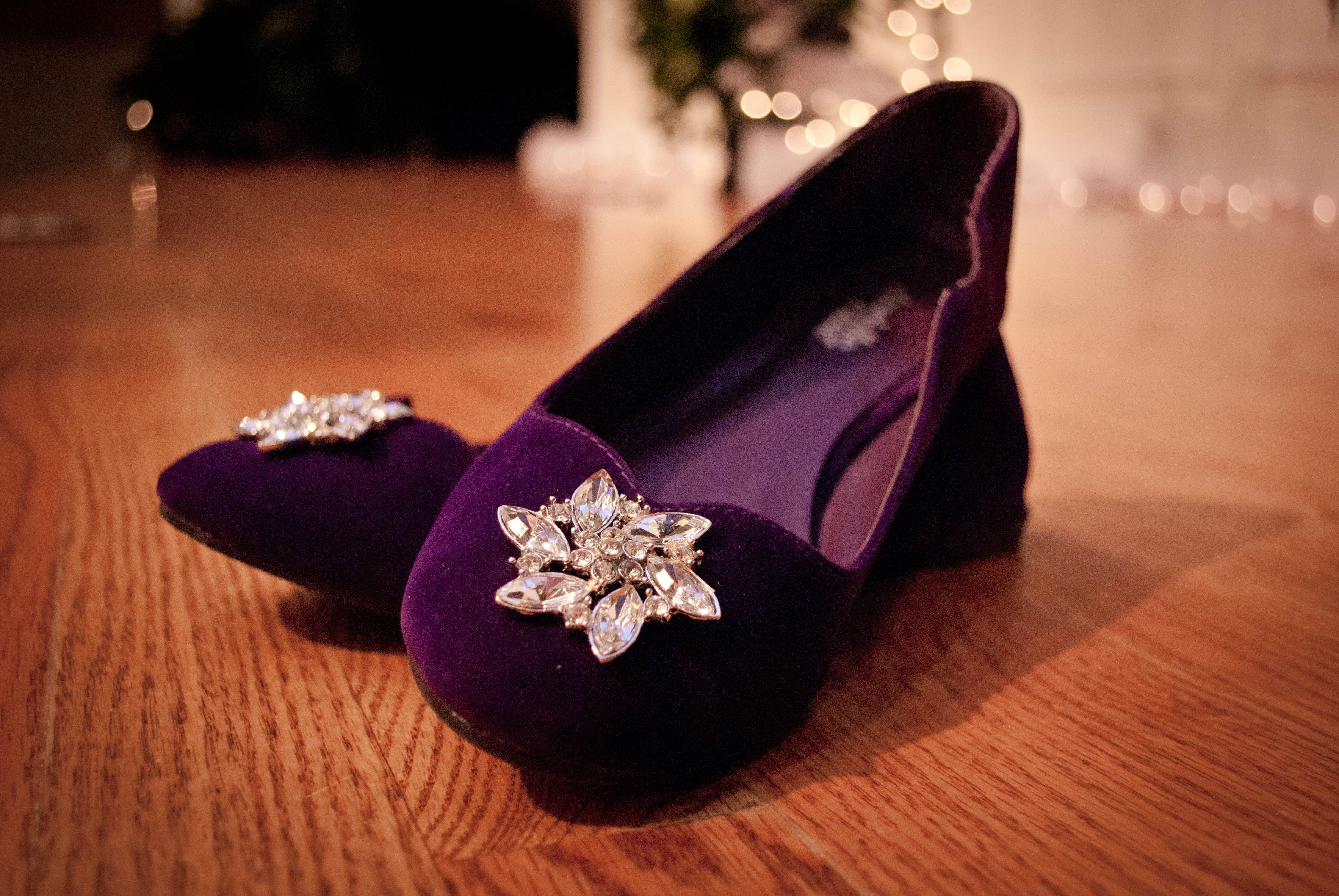 wedding shoes...found the velvet slippers on clearance, and added the decoration.  Made from rhinestone buttons.  I cut off the shank before attaching.
