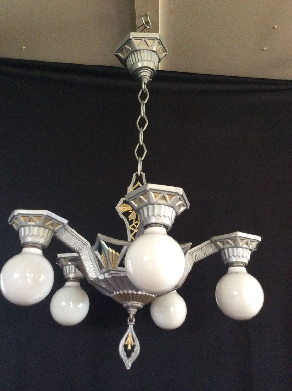 Vintage antique art deco chandelier sunburst 1920s polychrome 5 vintage antique art deco chandelier sunburst 1920s polychrome 5 arm star burst arubaitofo Image collections