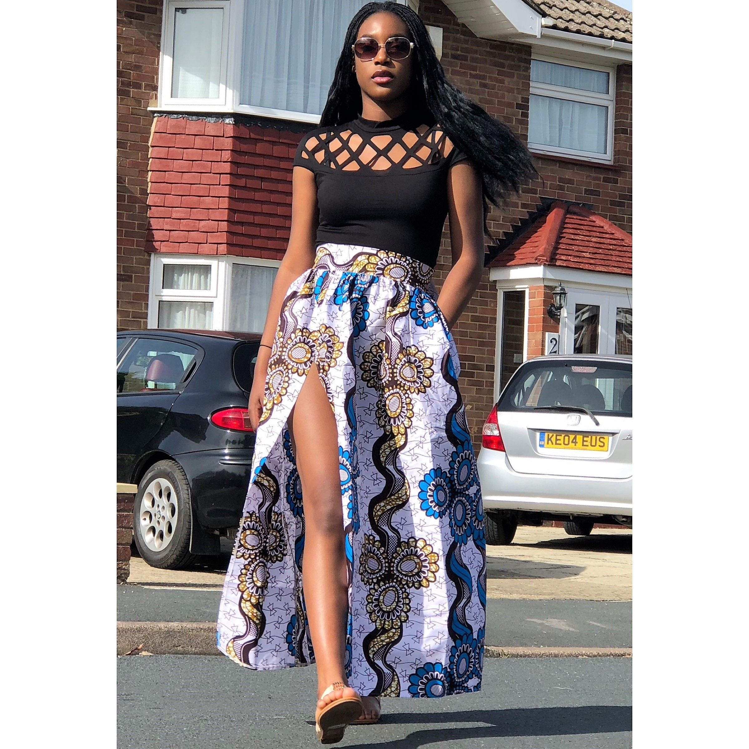 09fe902cad African Print White, Blue and Brown Slit Maxi Skirt Maxi skirt with a slit  on the left and two side pockets. 100% African Print Cotton