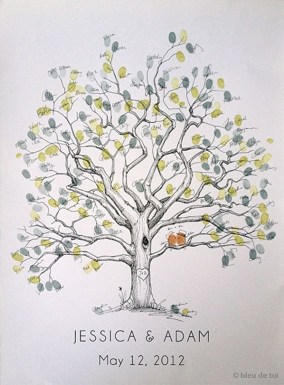 Fingerprint Tree Wedding Guest Book Alternative Original Handdrawn Large Twisted Oak Design