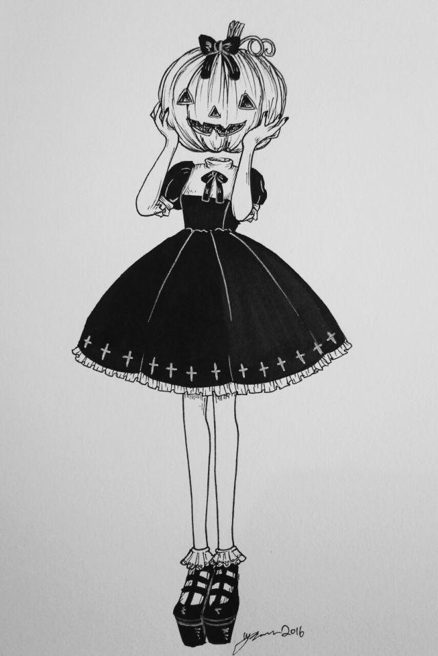 Pumpkin girl | Halloween drawings, Halloween art