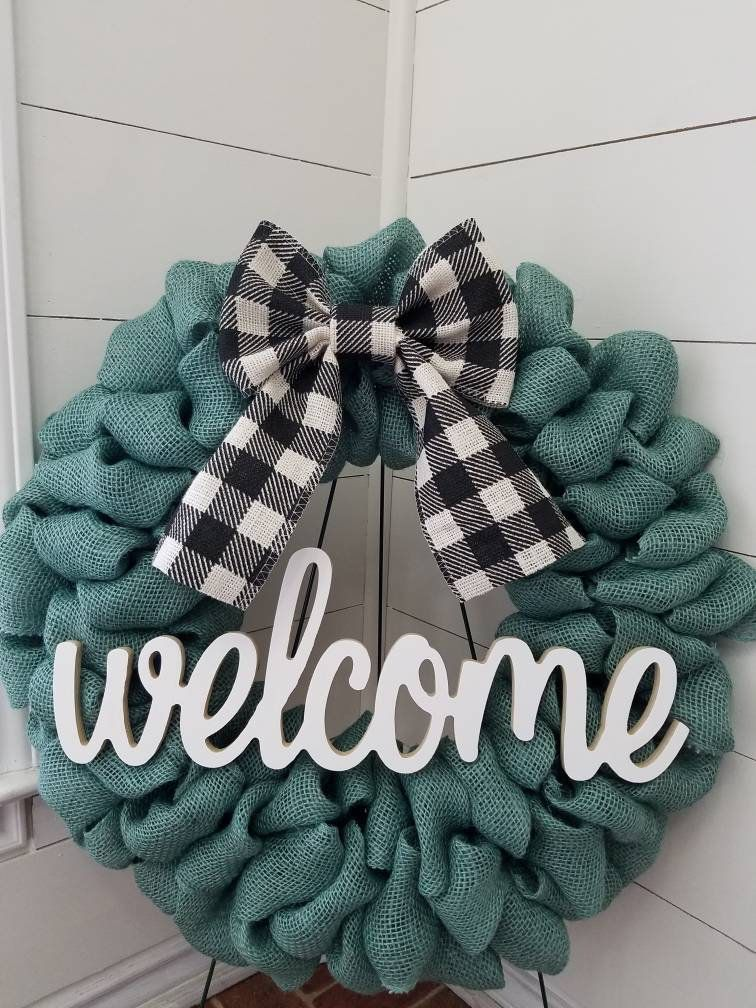 Photo of Items similar to Welcome Turquoise Burlap Wreath with Buffalo Plaid Bow on Etsy