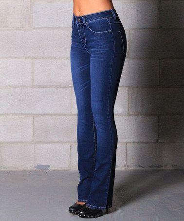 Medium Wash Denim Heidi Stretch High-Rise Bootcut Jeans by Lola Jeans #zulily #zulilyfinds
