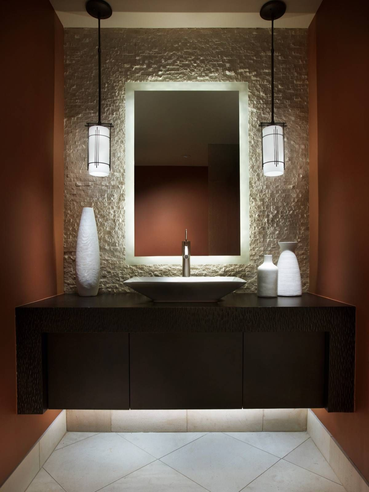 Small bathroom vanities and sink you can crunch into even for Wallpaper for small powder room