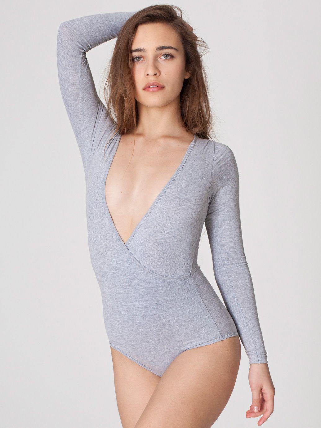 Cotton Spandex Jersey Cross-V Bodysuit  5c5e264f1