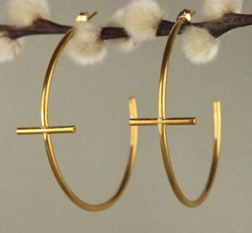 Gold Large Cross Hoop Earrings