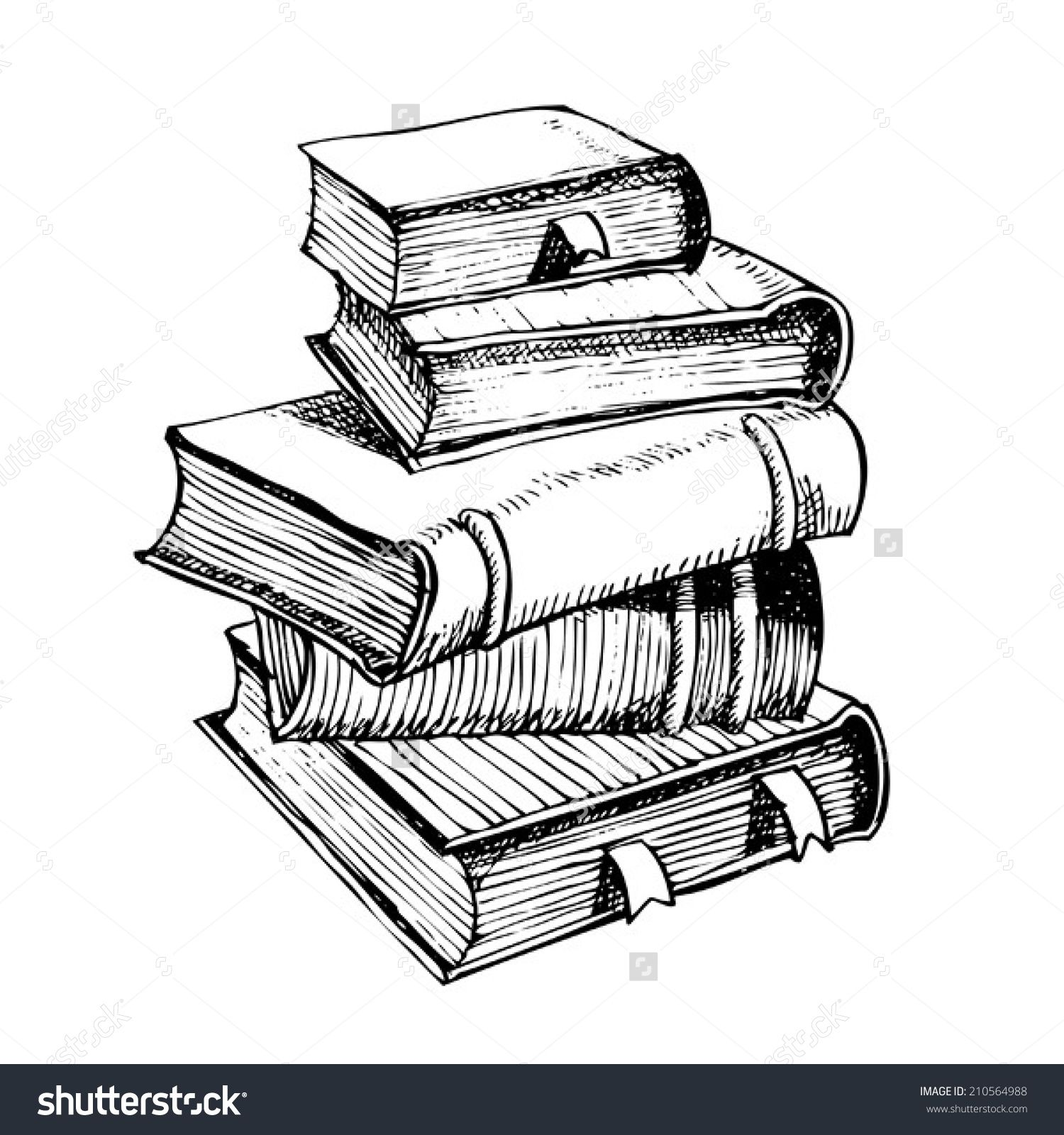 Pen Drawing A Pile Of Books Book Drawing Pen Drawing Pile Of Books