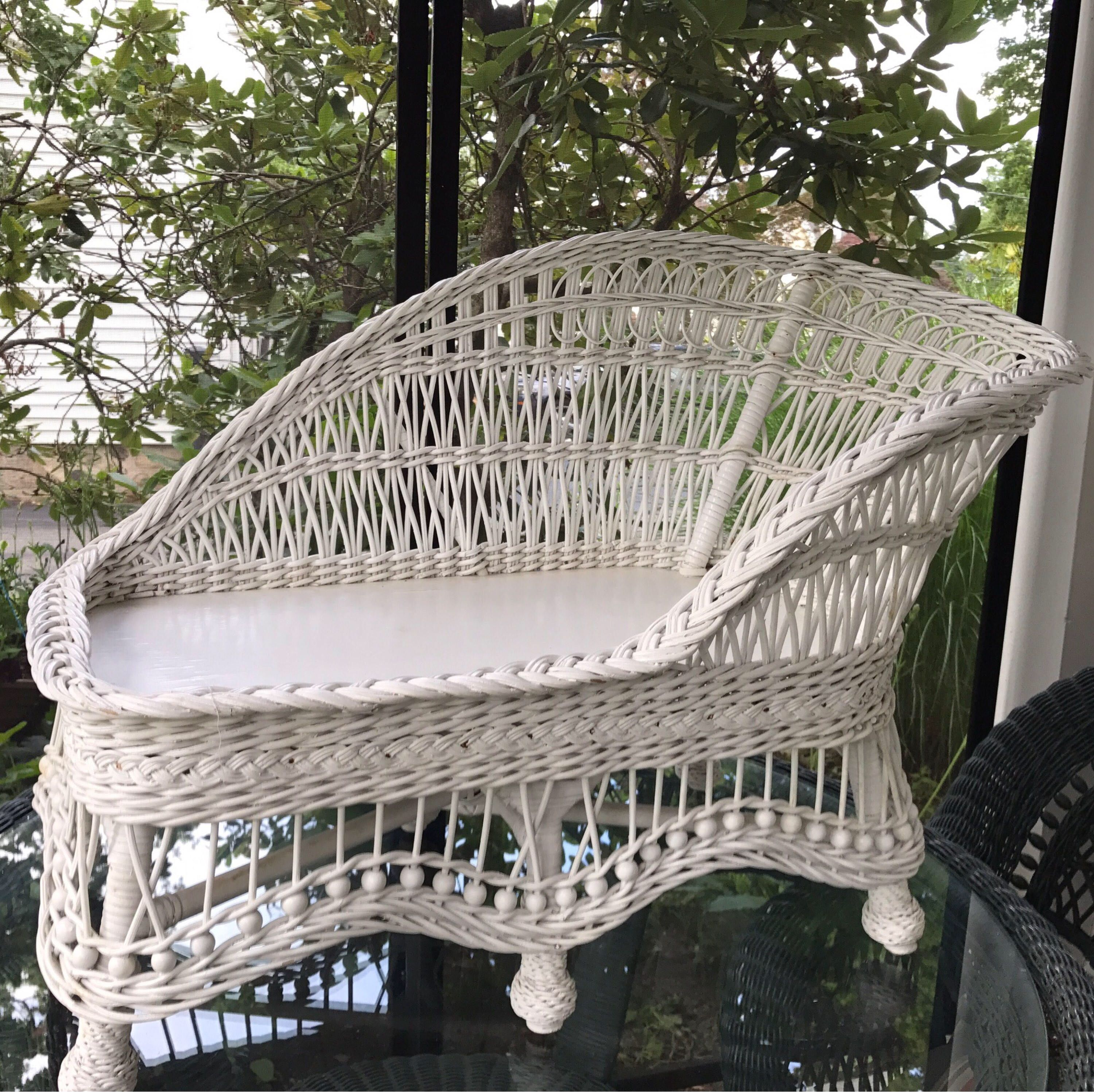 vintage wicker fainting couch child size rattan settee white wicker
