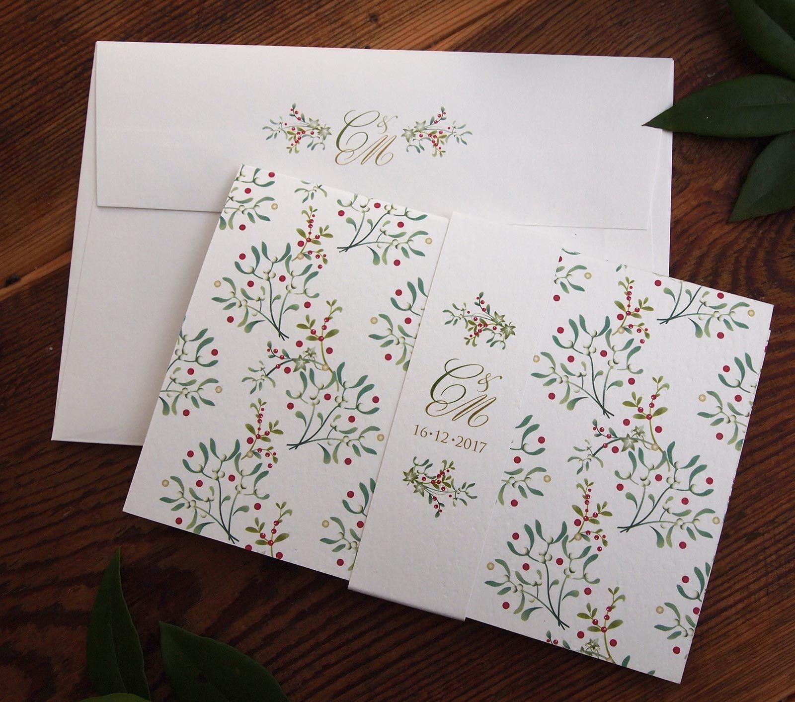 Mistletoe Scroll - Festive themed wedding invitation and belly band ...