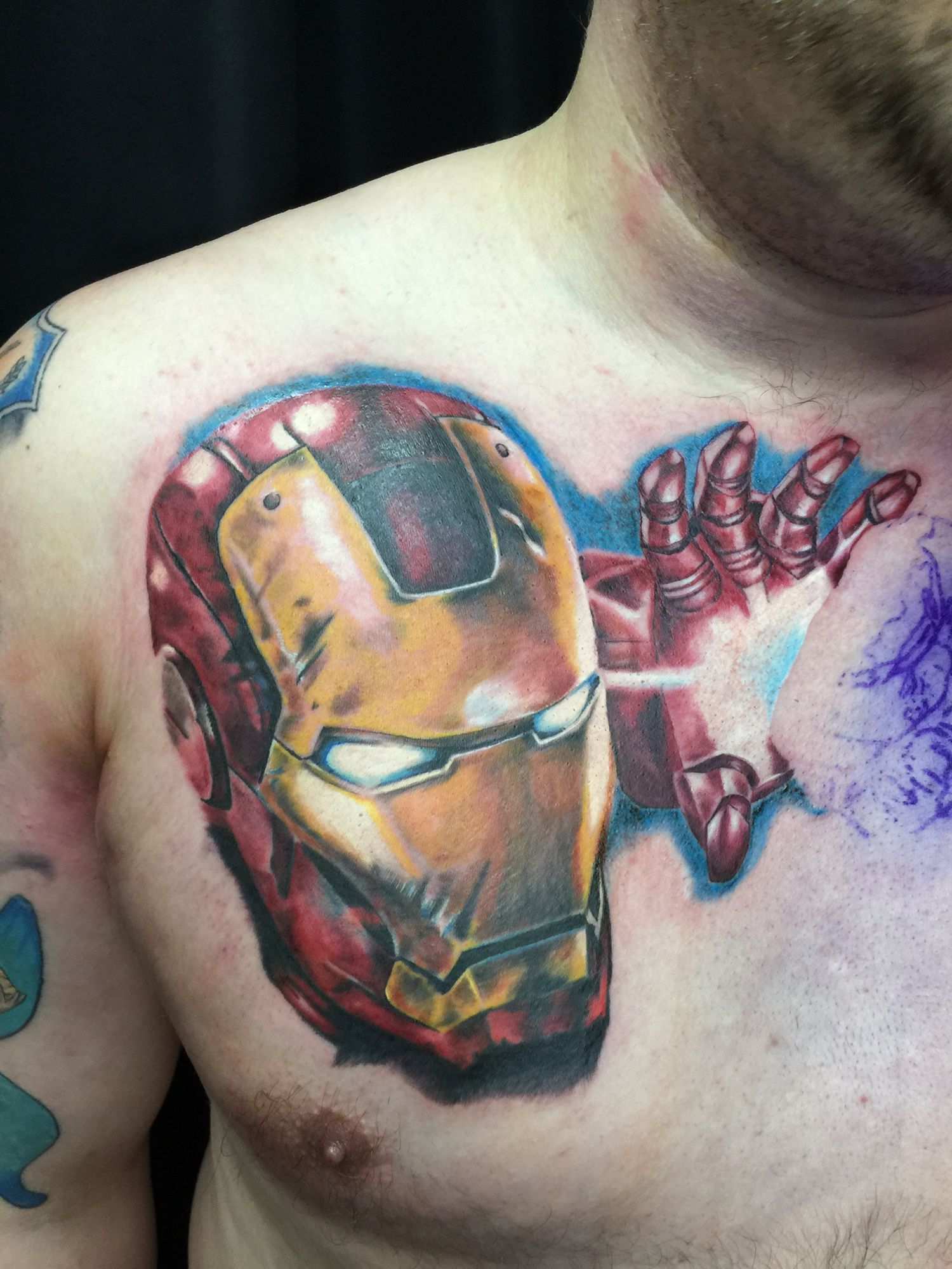 Iron Man Full Colour Tattoo Chest Piece