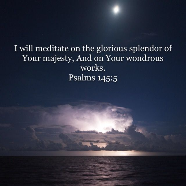 I will meditate on the glorious splendor of Your majesty